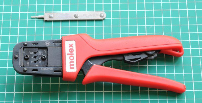 Molex Mini-Fit Jr crimp tool and extraction tool